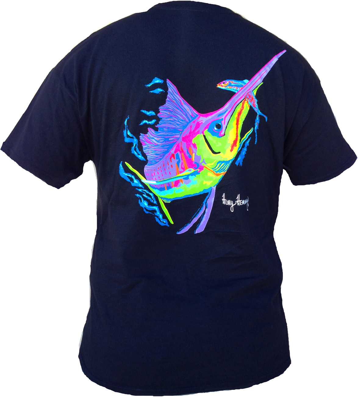 Sailfish design on men black short sleeve shirt