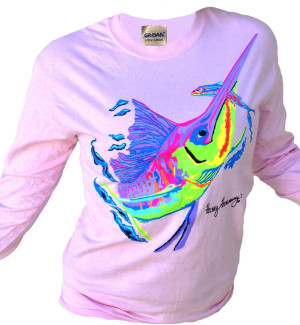 Sailfish design on women light pink long sleeve shirt